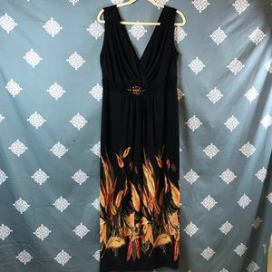 Black and Floral Print Sleeveless Maxi Dress